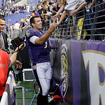 Baltimore Ravens quarterback Joe Flacco shakes hands with fans after an NFL football game against the Cleveland Browns, Sunday, Sept. 26, 2010, in Baltimore. The Ravens won 24-17. (AP Photo/ …