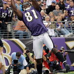 Baltimore Ravens wide receiver Anquan Boldin pulls in a touchdown pass during the first half an NFL football game against the Cleveland Browns, Sunday, Sept. 26, 2010, in Baltimore. (AP Phot …