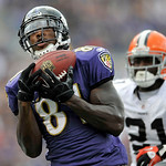 Baltimore Ravens wide receiver Anquan Boldin catches his third touchdown pass of the NFL football game, during the second half against the Cleveland Browns in Baltimore, on Sunday, Sept. 26, …