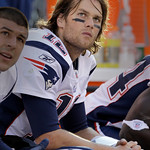 New England Patriots quarterback Tom Brady sits on the bench late in the fourth quarter of his teams 34-14 loss to the Cleveland Browns in their NFL football game on Sunday, Nov. 7, 2010, in …