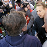 Cleveland Browns head coach Eric Mangini, right, shakes hands with New England Patriots head coach Bill Belichick  after the Browns beat the Pats 34-14 in their NFL football game on Sunday,  …