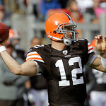Cleveland Browns quarterback Colt McCoy passes in the first quarter of an NFL football game against the New England Patriots Sunday, Nov. 7, 2010, in Cleveland. (AP Photo/Mark Duncan)