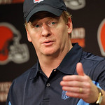 NFL commissioner Roger Goodell answers questions from reporters after visiting the Cleveland Browns' football training camp Thursday, Aug. 5, 2010, in Berea, Ohio. (AP Photo/The Plain Dealer …