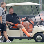 Cleveland Browns head coach Eric Mangini, left, talks with Browns president Mike Holmgren during the Browns NFL football training camp in Berea, Ohio,  on Wednesday, Aug. 4, 2010.  (AP Photo …