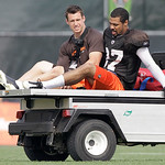 Cleveland Browns cornerback Chris Roberson (37) is taken off the field on a  cart with an unidentfied trainer after being hurt during the Browns NFL football training camp in Berea, Ohio.,   …