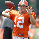 This Aug. 1, 2010, photo shows Cleveland Browns quarterback Colt McCoy throwing a pass during the Browns NFL football training camp in Berea, Ohio.  (AP Photo/Amy Sancetta)