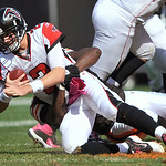 Atlanta Falcons quarterback Matt Ryan (2) is sacked by Cleveland Browns linebacker Marcus Benard in the first quarter of an NFL football game Sunday, Oct. 10, 2010, in Cleveland. (AP Photo/D …