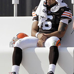 Cleveland Browns quarterback Seneca Wallace sits on the bench during the third quarter of the Browns' 20-10 loss to the Atlanta Falcons in an NFL football game on Sunday, Oct. 10, 2010, in C …