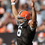 Cleveland Browns quarterback Seneca Wallace celebrates after a touchdown against the Atlanta Falcons in the second quarter if an NFL football game Sunday, Oct. 10, 2010, in Cleveland. (AP Ph …