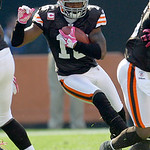 Cleveland Browns wide receiver Josh Cribbs (16) takes the opening kickoff against the Atlanta Falcons during an NFL football game Sunday, Oct. 10, 2010, in Cleveland. (AP Photo/Tony Dejak)