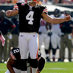 Cleveland Browns' Phil Dawson watches a field goal against the Atlanta Falcons in an NFL football game Sunday, Oct. 10, 2010, in Cleveland. Dawson tied the Browns' team record for career fie …