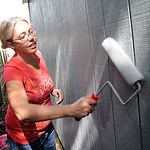 Liz Hamister-Burnett, of Elyria, paints the garage at a home on Gates Ave. for Building Better Communities on Sep. 28.  Steve Manheim