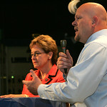 Marcy Kaptur, left, and Samuel Wurzelbacher debate at the CHIP Debate at St. Joseph&#039;s Community Center.