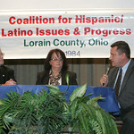 Terry Boose, left, and Mathew Lark , right, at the CHIP Debate at St. Joe&#039;s Community Center.  The two are squaring off for the Ohio House of Representatives. The moderator, center, is Mary  &#8230;