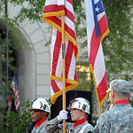 Color guard at the 11th anniversary of 9/11 service at Ely Square Sep. 11, 2012.  Steve Manheim