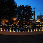 Luminaries line the fountain at Ely Square for the 11th anniversary Candlelight Service on Sep. 11, 2012.   Steve Manheim