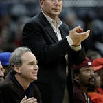 Michael Gearon, left, and Bruce Levenson attend an NBA basketball game between the Atlanta Hawks and the Cleveland Cavaliers on Wednesday, Dec. 22, 2010, in Atlanta. The owners of the Hawks  …