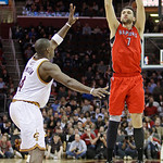 Toronto Raptors' Andrea Bargnani (7) shoots over Cleveland Cavaliers' Antawn Jamison (4) in the fourth quarter of an NBA basketball game Wednesday, Jan. 5, 2011, in Cleveland. Bargnani score …