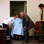John Demjanjuk arrives at the court room for his trial in Munich, southern Germany, on Monday, Nov. 30, 2009. Demjanjuk goes on trial on charges of being an accessory to the murder of 27.9 …