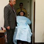 John Demjanjuk  arrives at the court room for his trial  in Munich, southern Germany, on Monday, Nov. 30, 2009. Demjanjuk has gone on trial on charges of being an accessory to the murder of  …