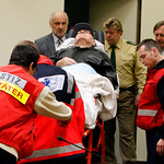 Presumed former concentration camp guard John Demjanjuk arrives at the court room for his trial in Munich, southern Germany, on Tuesday, Dec. 1, 2009. Demjanjuk goes on trial on charges of b …