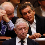 Jewish journalist Michel Friedman, right, waits for the beginning of the trial against presumed former concentration camp guard John Demjanjuk, in a court room in Munich, southern Germany, …