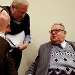 Kurt Gutmann, right, one of the joint plaintiffs during the Demjanjuk trial, talks with journalists in the country court building in Munich, southern Germany, on Tuesday, Dec. 1, 2009. Demja …