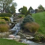 16OCT03 Just some of the magnificent landscaping at Don Brown's lakeside Vermilion home. file photo by Chuck Humel