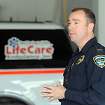 "Lt. Phil Hammonds of Elyria PD, speaks at ""Drive Sober or Get Pulled Over Campaign"" kick-off, presented by the Safe Comunity Coalition of Lorain County,  at LifeCare Ambulance in Amherst on  …"