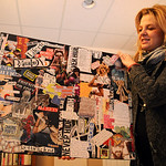 Tina Bizup-Schmidt holds a collage on eating disorders at Psych and Psych Services at 750 South Abbe Rd. Steve Manheim