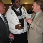 Andy Drwal , D-2nd Ward, left, Timothy Howard, 3rd ward, are congratulated by Lorain Mayor Tony Kransienko at Knights of Columubus in Lorain Nov 3.  Alicia Castelli photo