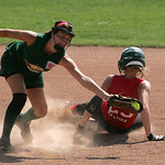 Carly Bachna slides safely into second.   photo by Chuck Humel