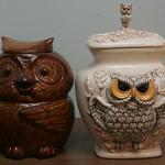 Owl cookie jars — two of Brown's collection of owls.