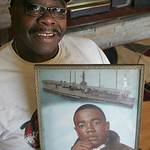 William Slay now at age 66, his ship the USS Arlington, and a picture of him in the Navy, circa 1964-68.  photo by Chuck Humel