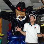 "Alex Arroyo, arts programmer at French Creek Nature Center, is scared by a balloon monster at ""The Boo-Loon Lagoon"" at French Creek Nature Center in Sheffield Oct. 27.  The lagoon is a famil …"