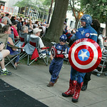 ANNA NORRIS/CHRONICLE<br /> Superhero Captain America says hello to the audience as The Cleveland Pops Orchestra plays the Captain America March during their  &quot;Summon the Superheroes: Classical Mu &#8230;