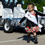 Charlise LaRiche, 7, of Geneva, dances in her duck tape dress to the rock and polka bands. KRISTIN BAUER | CHRONICLE
