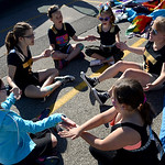 The Bay Arts girls played a quick game on Saturday before the Duck Tape Parade. KRISTIN BAUER | CHRONICLE