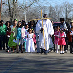 Congregation members of Lorain's Shiloh Baptist Church participate in the church's first Crusade March on Sunday down Clifton Avenue. KRISTIN BAUER | CHRONICLE