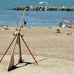 A large sundial keeps time on Lakeview Beach Sunday afternoon. ANNA NORRIS/CHRONICLE