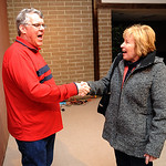Lance Rice meets Vermilion mayor Eileen Bulan at German's Villa on Apr. 13.  Steve Manheim