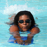 Lisa Roberson warms up for a swimming lesson at North Pool in Elyria on Aug. 2.  Steve Manheim