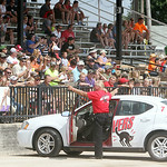 The crowd gives Black Cat Hell Driver stunt driver a round of applause. ANNA NORRIS/CHRONICLE