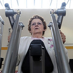 Dottie Campbell, of Vermilion, works out on the rowl machine at the Wellness and Fitness Center Open House at Mercy Regional Medical Center in Lorain on Apr. 7. The open house showcased the …