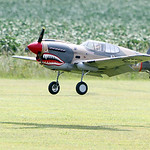 A Top Flight P-40 Warhawk radio control airplane, owned by Brian Dee, of Vermilion, lands. ANNA NORRIS/CHRONICLE