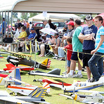 A variety of radio controlled model airplanes sit on display during the Lorain County Radio Control Club's annual Model Mania air show Sunday afternoon in Elyria. ANNA NORRIS/CHRONICLE