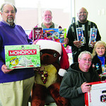 Elyria F.O.P.A. Lodge 98 donated toys to The Not Forgotten Box. Pictured are Stan Wojdyla, Paul Reinoehl, Forrest Bullocks, Frank Justice and Kathryn Karpus.