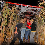10/17/09 Novotny Farm Market Rt 60 Vermilion, Ohio Holowen Corn Maze. These girls have just been surprised by one of the haunts on the half mile corn Maze walk. At right in yellow hood is Be …