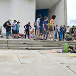 As the weather cleared up and the sidewalks dried, hundreds of artists came to Oberlin to chalk the walk during the annual Chalk Walk on Saturday morning. KRISTIN BAUER | CHRONICLE