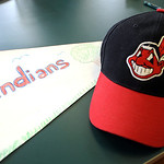 A homemade pennant and Indians cap at the Opening Day event at Central Branch Library Mar. 31.  Steve Manheim